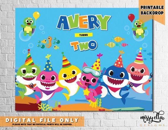 digital file only Personalized Shark Banner Sharks Birthday Party Backdrop Sharks Birthday