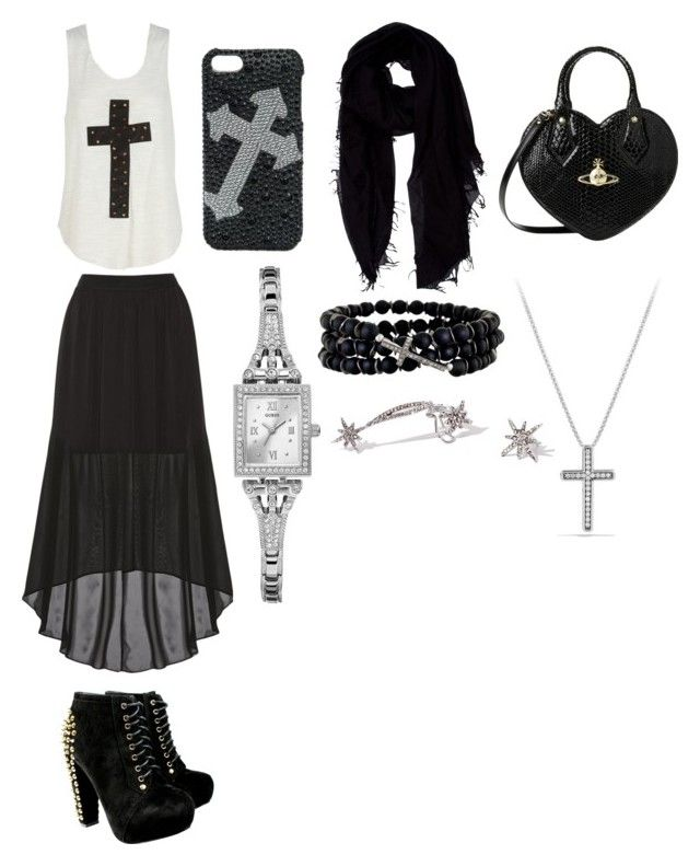 """""""Being religious"""" by mmer ❤ liked on Polyvore featuring beauty, Alice + Olivia, Vivienne Westwood, Blazin Roxx, Faliero Sarti, GUESS, Renee Sheppard and David Yurman"""