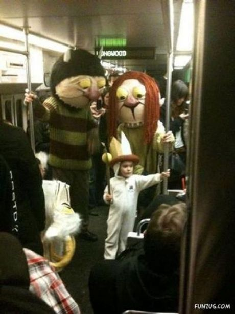This will be my kid.. Except I doubt I would be taking my child trick or treating in the subway.