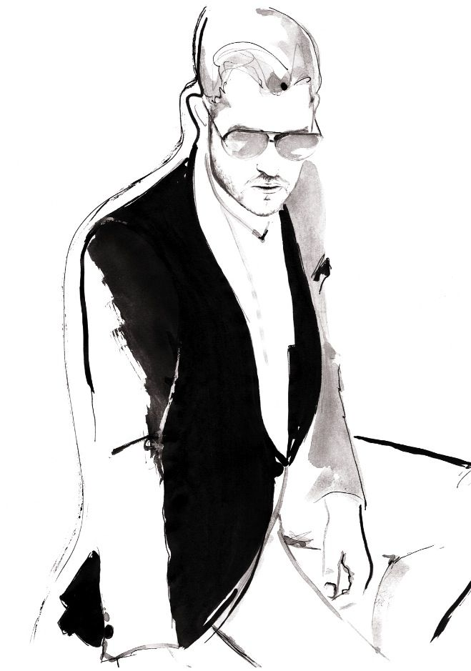 """mr. Bublé"" inspiration: a photo with Michael Bublé photographed by Dean Freeman. Fashion illustration by Kornelia Debosz"