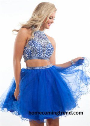 Bead Two Piece Royal Homecoming Short Dresses 2014