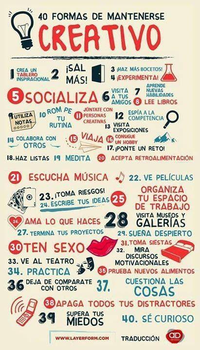 40 formas de MANTENERTE #creativo