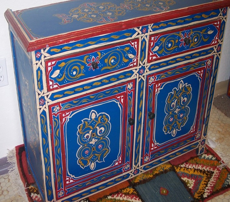 17 best images about moroccan design on pinterest for Moroccan hand painted furniture