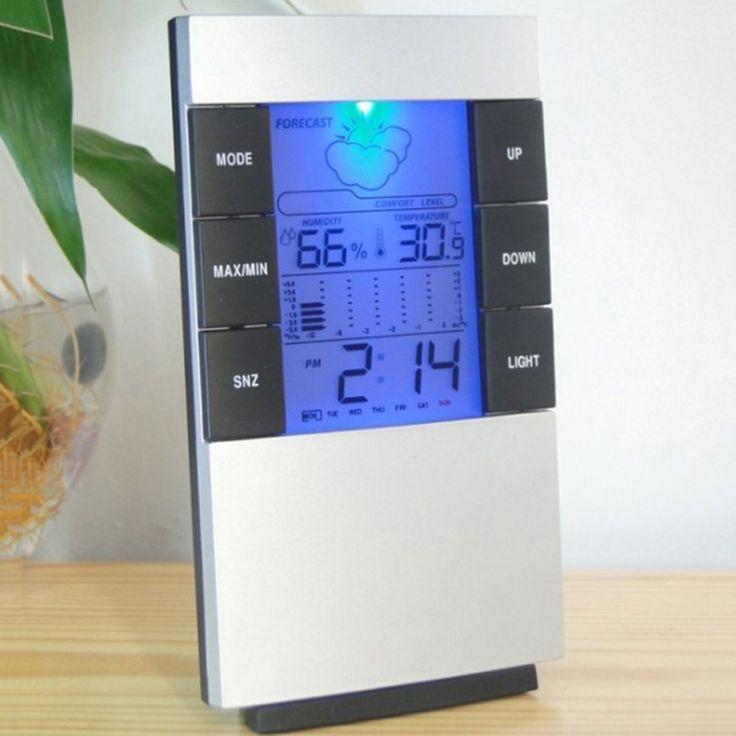 Calendario Digital Reloj Higrómetro Termómetro Hogar Grande de Retroiluminación LED de Alarma Relojes de Tiempo de Visualización, Semana y datos de Temperatura