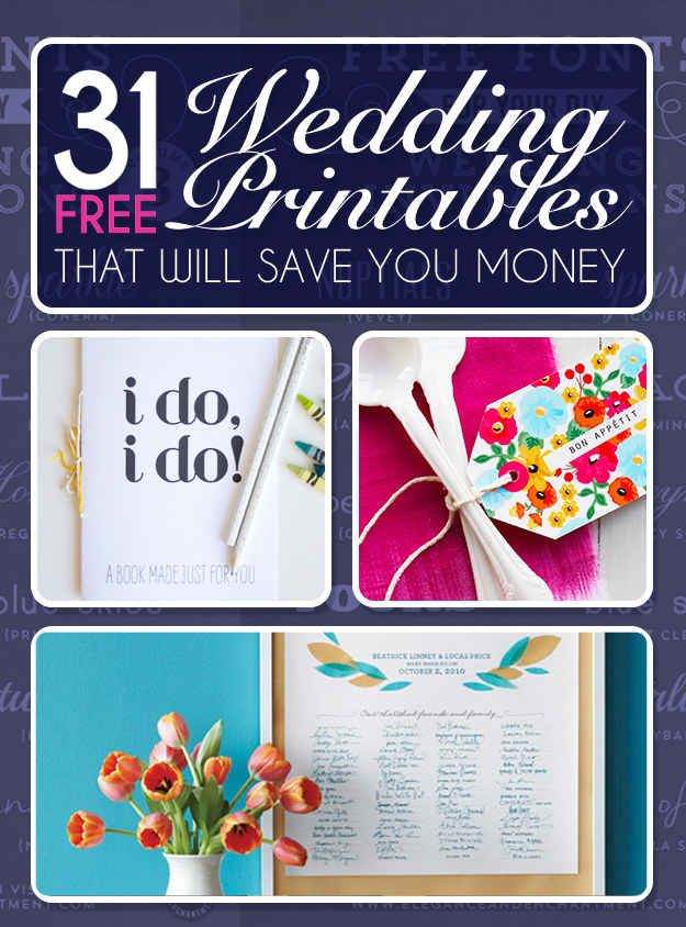 31 Free Wedding Printables Every Bride-To-Be Should KnowAbout  Your big day doesn't have to break the bank.