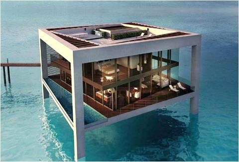 Glass house on the water.  Not sure I could live there; but love the idea of it.