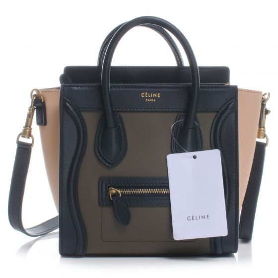 This is an authentic CELINE Pony Calf Hair Tricolor Nano Luggage ...