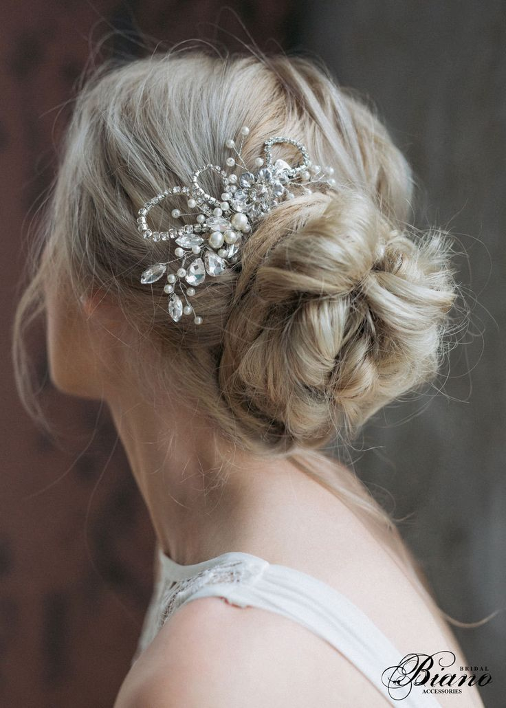 Bridal Headpiece, Wedding Rhinestones Hairpiece, Pearl  Haircomb, Bridal Hair Comb, Wedding Hair Accessories, Silver Hair Comb by Bianoco on Etsy
