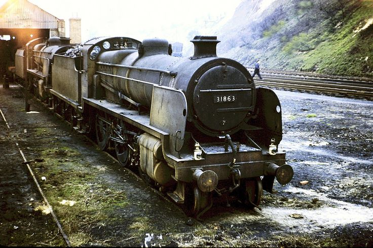 "SR. Maunsell ""N"" class 2-6-0 No. 31863. At Redhil Shed (75B), on the 6th March 1960. Photo by Ron Bowyer"