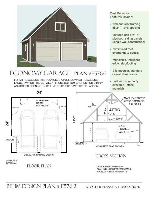 Economy 2 Car Garage With Attic Plan E576 2 By Behm Design