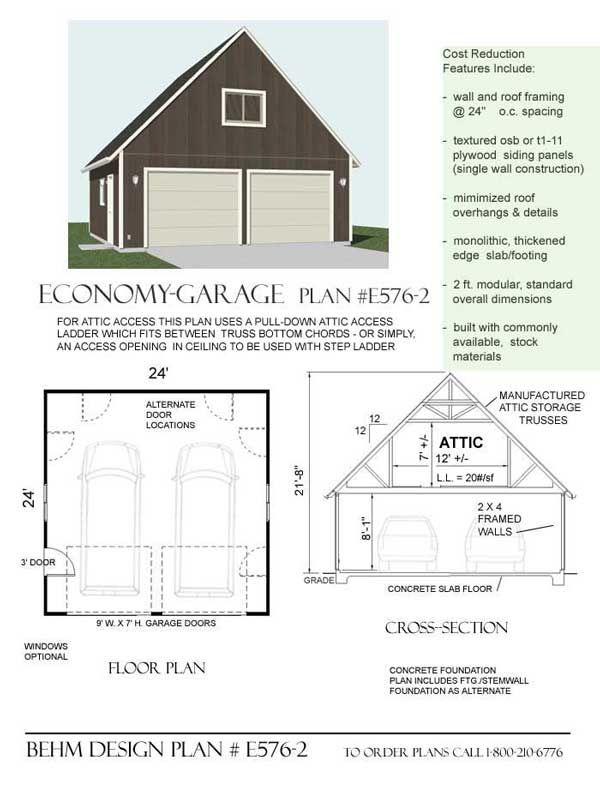 Economy 2 car garage with attic plan e576 2 by behm design for Garage plans pdf