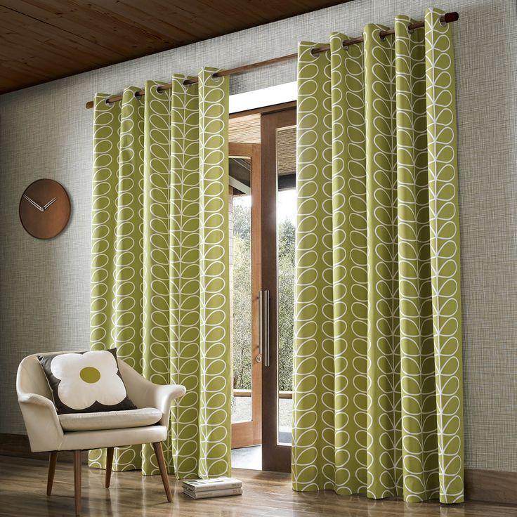Ashley Wilde | Orla Kiely - Linear Stem, Olive ready made curtains