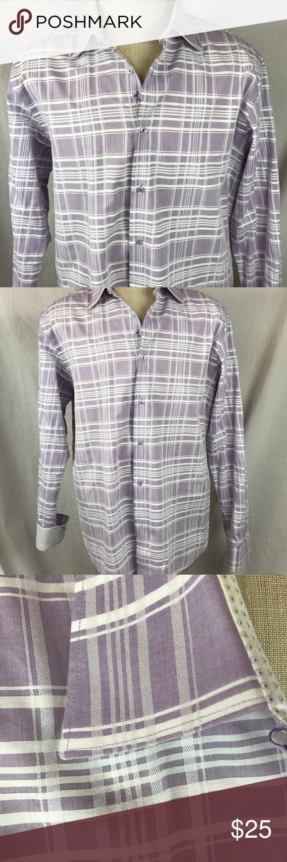"""Bugatchi Mens Shirt Large Shaped Fit Purple Plaid Bugatchi Shirt in very good condition. One small stain to back of inside of collar.   Chest: 24""""  Length: 29""""  Sleeve: 34/35""""    Thanks for looking!   L Bugatchi Shirts Casual Button Down Shirts"""