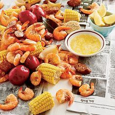 shrimp boil with potatoes, corn, and sausage
