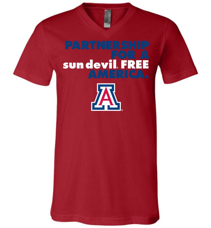 NCAA- University of Arizona Wildcats U of A - Partnership For A Sun Devil Free America - V-Neck T-Shirt - uofa2499