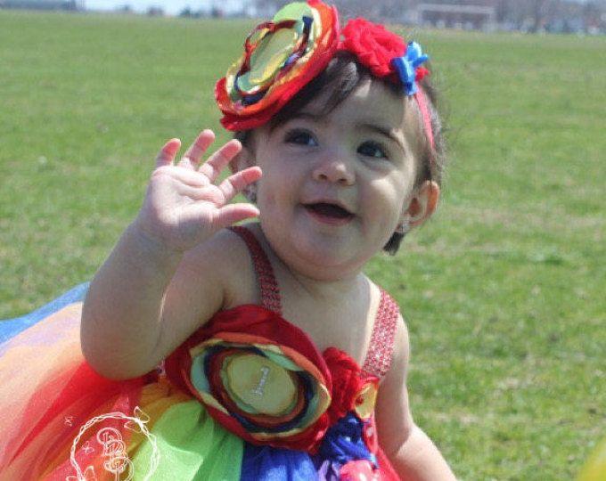 Arco iris Tutu vestido circo payaso Tutu Vestido de carnaval cumpleaños Tutu vestido-circo Vestido de cumpleaños