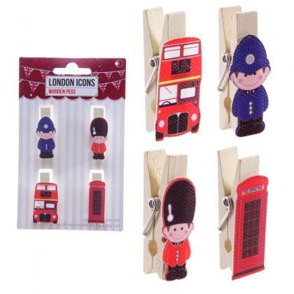 Dřevěné ozdobné kolíčky s motivem londýnské telefonní budky, autobusu a stáže. #LondonIcons #pegs #accessories