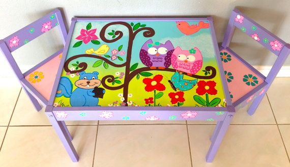 Baby Owls and Squirrels Play Table and 2 Chairs for Children 1 and up (Lavender…