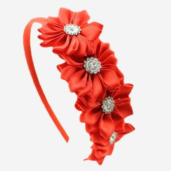 1 шт. Атласной Лентой Цветов горный хрусталь девочка диапазон волос цветок Корейский стиль принцесса повязка дети аксессуары для волос купить на AliExpress