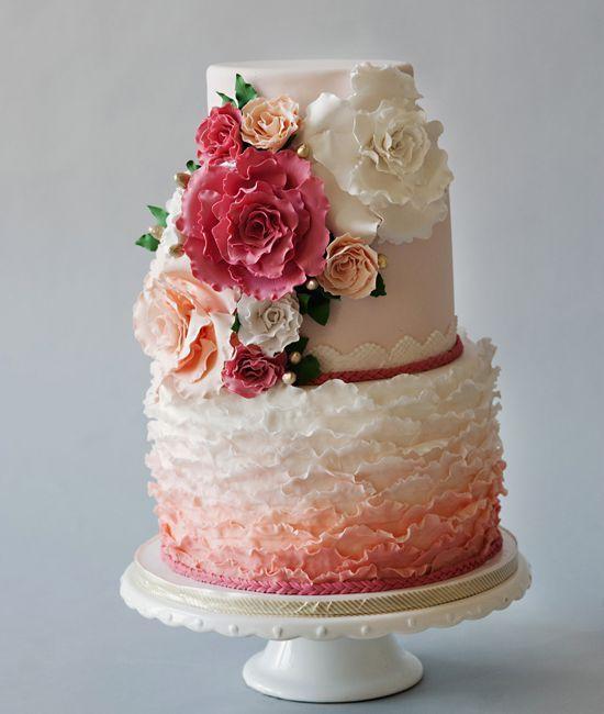Half hip ombre, half classic wedding flowers