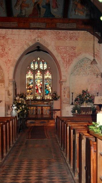 Interior of St. Nicholas's Church, Steventon, UK, where Jane Austin's father preached.
