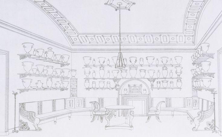 'The Vase Room', Plate 4, REGENCY - 'Household Furniture & Interior Decoration', by Thomas Hope, London, UK, 1807. NAL Pressmark 57.Q.1