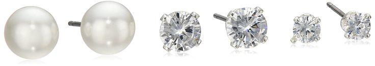 "Napier ""Classics"" Silver-Tone Cubic Zirconia and Pearl Trio Stud Earrings. fashion jewelry."