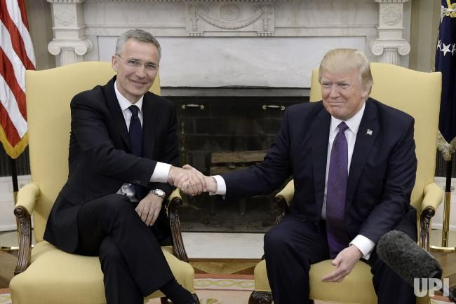 US President Donald Trump meets with Secretary General Jens Stoltenberg of NATO in the Oval Office of the White House in Washington, DC on…