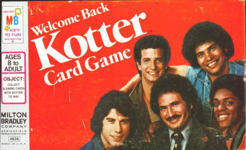 "WELCOME BACK, KOTTER: Card Game (4636) by Milton Bradley, 1976, complete - nothing missing, all 42 cards with the cast photos are NM, all 4 spinners are like new, the box has some cover scuffing and the inside white plastic has a few rub marks. Mr. Kotter (Gabe Kaplan), Vinnie Barbarino (John Travolta), and the rest of the Sweathogs - Arnold Horshak, Juan Epstein and Freddie ""Boom Boom"" Washington are all pictured on the cards. $35"
