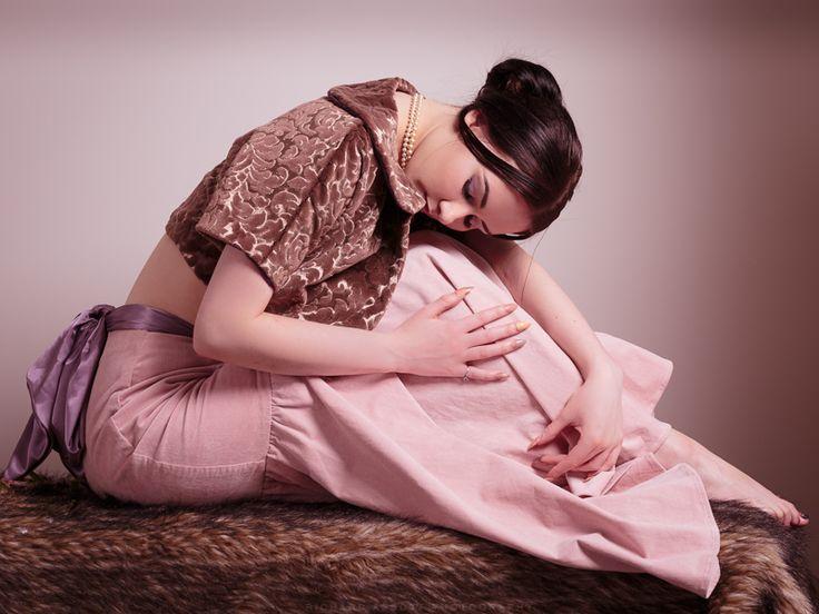 Velveteen brocade bolero and pink cord skirt