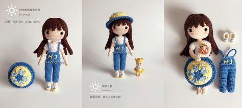 Patrón de la muñeca de crochet Yunshu. Patrón completo de la muñeca, ropa y sombrero completamente en español. Patrón gratis.