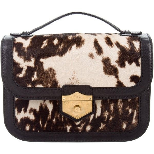 Pre-owned Alexander McQueen Ponyhair Wicca Satchel ($425) ❤ liked on Polyvore featuring bags, handbags, animal print, purse satchel, satchel handbags, brown satchel handbag, top handle handbags and brown satchel