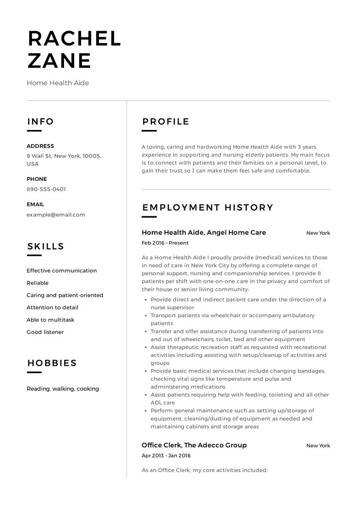 Home Health Aide Resume Example in 2020 Project manager