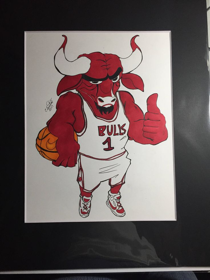 "Original copic drawing of Benny the Bull, 11""x14"", Sports drawings, NBA drawings, basketball drawings, Mascot drawings by LevestonDesigns on Etsy"