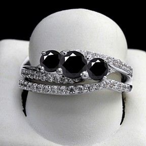 0.5 Ct Round Black Moissanita Bridal Rings Set In Sterling Silver by JewelryHub on Opensky