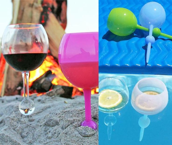 Introducing the wine glass that both floats in water AND sticks into sand! I definitely want this for my next beach trip!