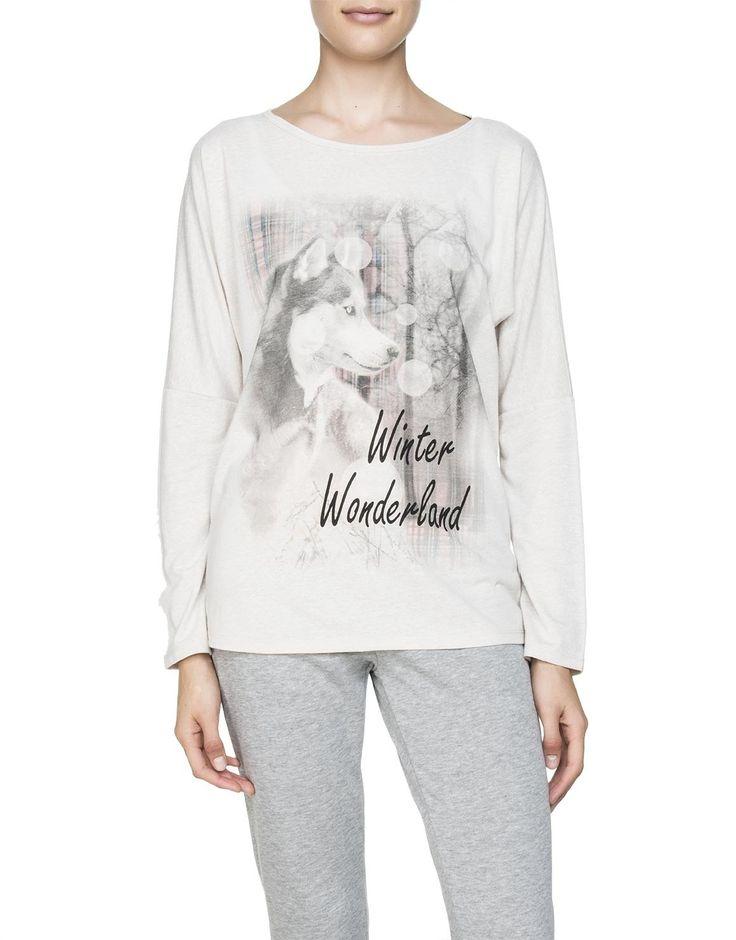 Wolf Print Sleep T-Shirt