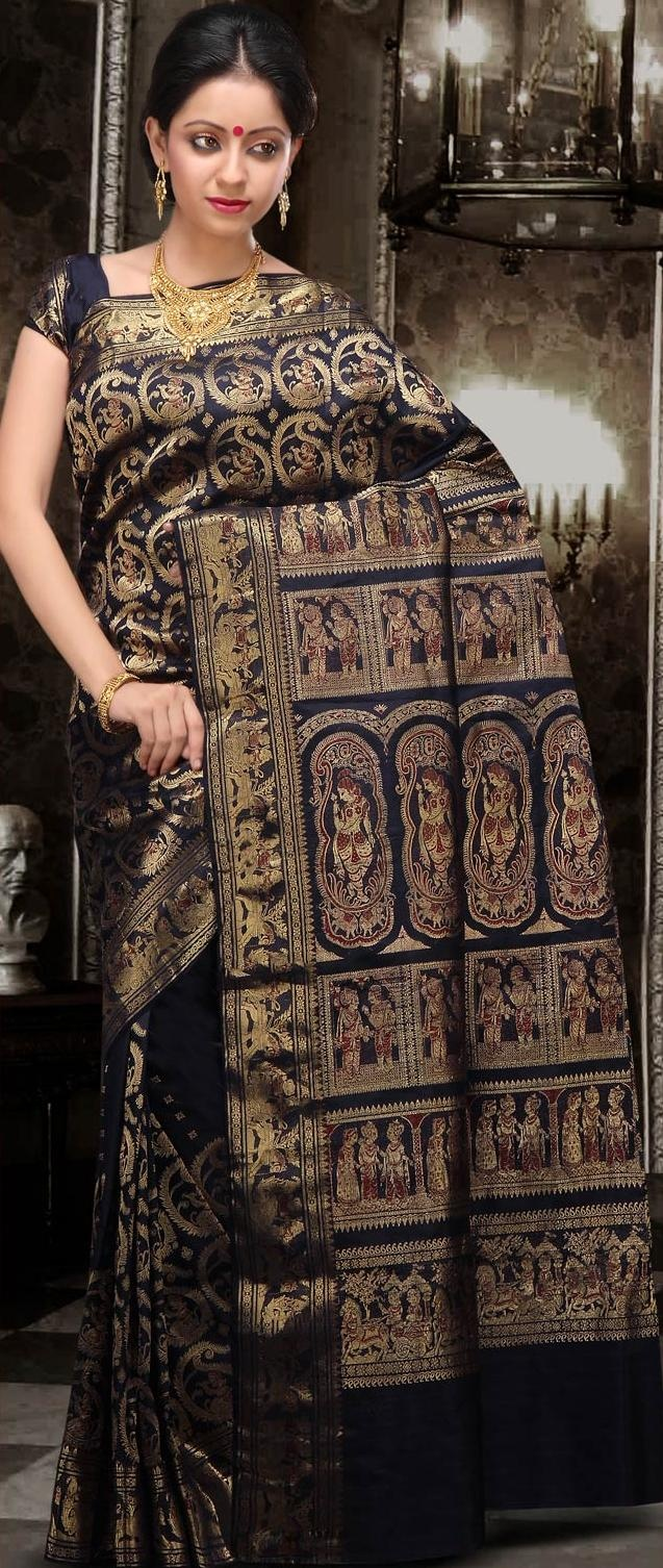 Dark Navy Blue Bengal Handloom Saurnachuri Silk Saree With Blouse.
