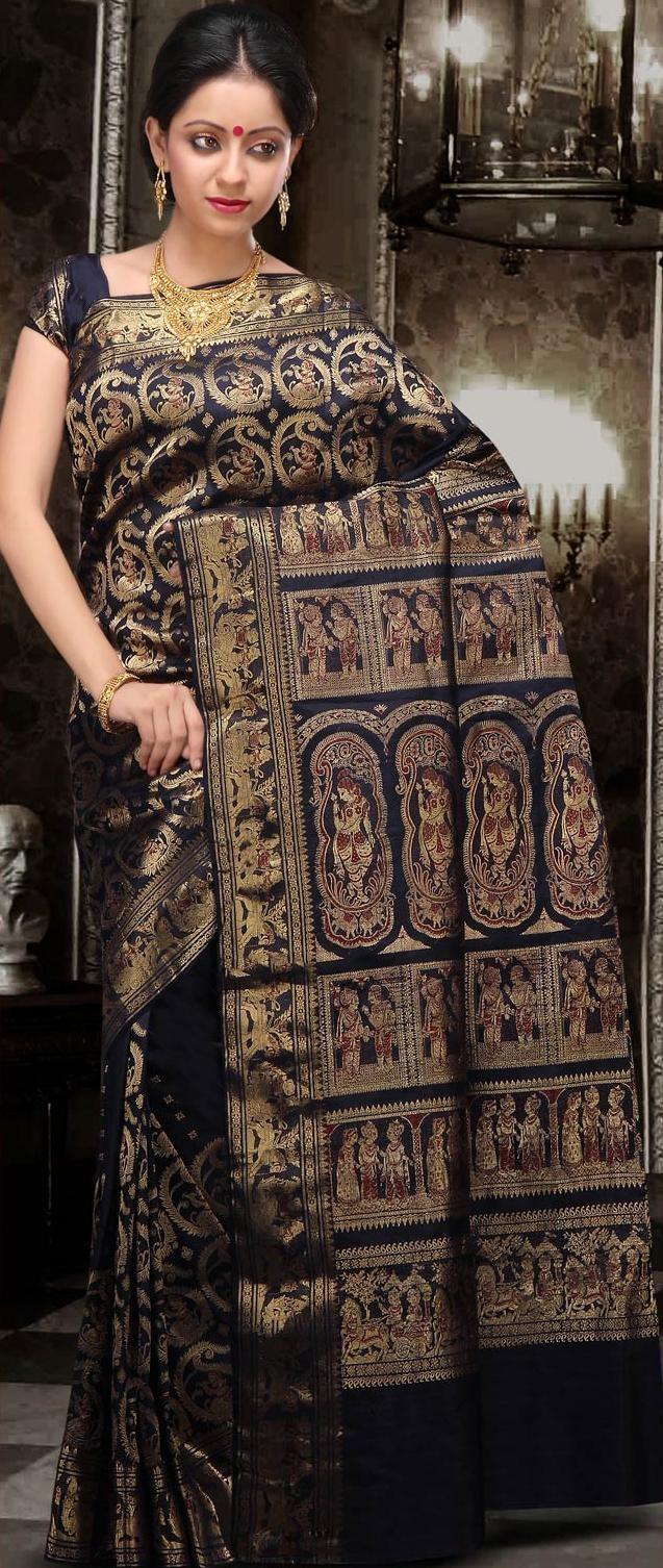 Dark Navy Blue Bengal Handloom Saurnachuri Silk Saree With Blouse