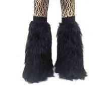 Negro peludo esponjoso Legwarmer arranque cubrir disfraz de Halloween danza Clubwear Navidad noche