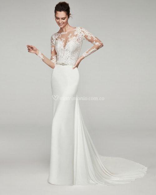 vestido de novia con escote ilusión modelo tamae (alma novia