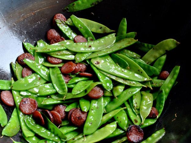 [Photograph: Max Falkowitz] This stir fry takes five minutes from prep to plate, even less if you choose to forgo the Chinese sausage. Cook the snow peas until they just begin to blister—they should still be plenty crisp. I find...