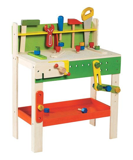 Budding builders will be more than busy drawing up blueprints, measuring blocks and ratcheting down bolts! This brightly colored set comes complete with everything kids need to start creating crafty carpentry.   CHOKING HAZARD: Small parts. Not for children under 3 yearsAdult Assembly Required due to the presence of small parts
