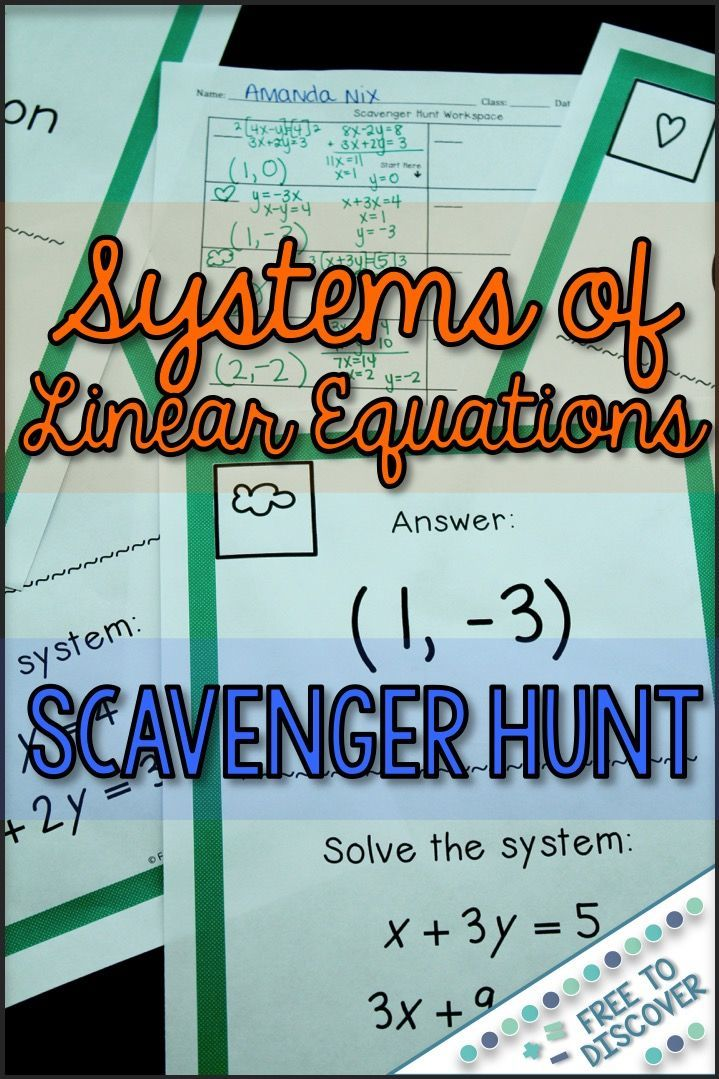 Systems Of Linear Equations Activity Scavenger Hunt With Images