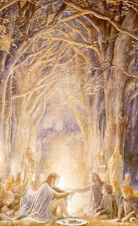 Frodo and Sam meet Gildor (and other Silvan elves) by Alan Lee