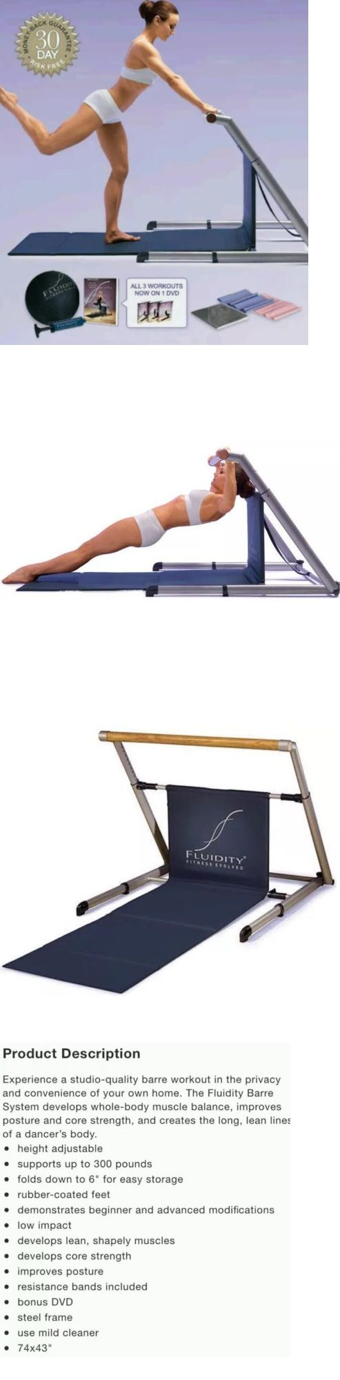 Ballet Barres 179804: Nib Fluidity Barre System Portable Ballet Bar Fitness Yoga Pilates Workout Dance BUY IT NOW ONLY: $149.99