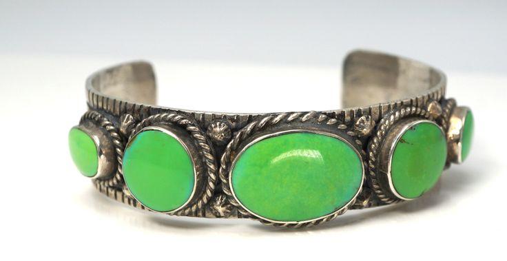 Vintage Ray Tafoya Navajo Sterling Silver Bracelet Beautiful & Rare Orvil Jack Green Turqouise Cuff  Bracelet 42 grams Gem Quality by JewelryCITI on Etsy https://www.etsy.com/listing/295282257/vintage-ray-tafoya-navajo-sterling