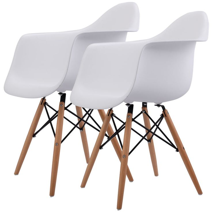 Set of 2 Mid Century Modern Molded Dining Arm Side Chair Wood Legs White New