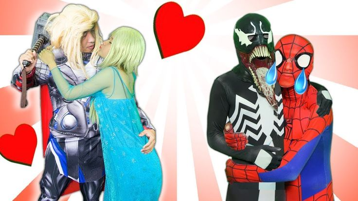 Frozen Elsa Blindly in love with Thor! Spider-Man and Maleficent in real...