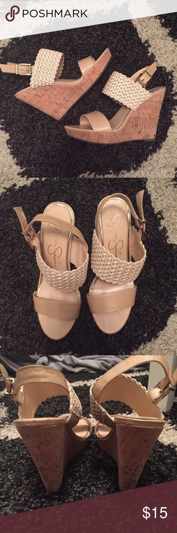 """Jessica Simpson Wedges Jessica Simpson Wedges. Size 6 and in excellent condition, worn once. The heel is 4"""" and the platform is .5"""". Selling for less on Ⓜ️ Jessica Simpson Shoes Wedges"""